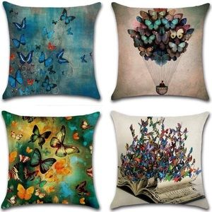 4 Throw Pillow Covers Butterfly Pattern Book Air